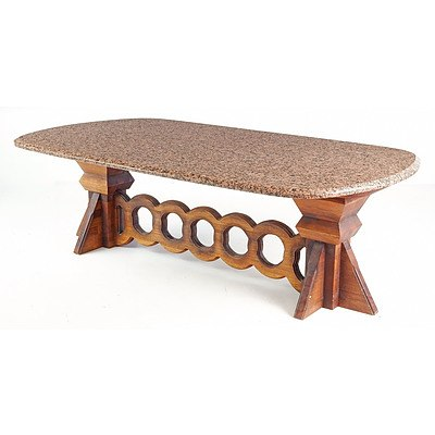 Unusual Modernist Maple and Granite Topped Coffee Table