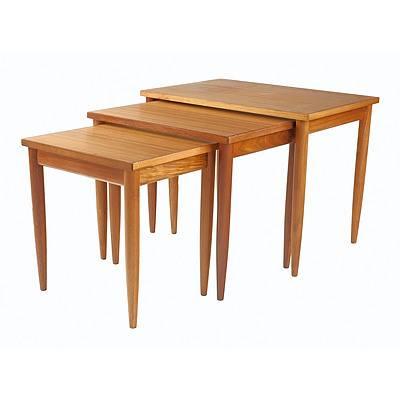 Elite Furniture Teak Veneer Nesting Tables Dated 1973