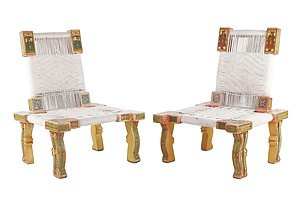 Pair of Indian Polychrome Painted Wood and Cord Upholstered Chairs, Later 20th Century