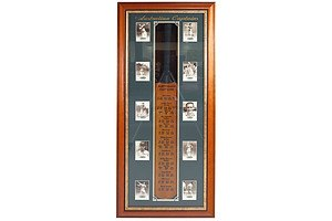 Australian Cricket Captains Bat with Signed Prints of the Captains In Framed Presentation Including Bill Lawry, Richie Benaud and More