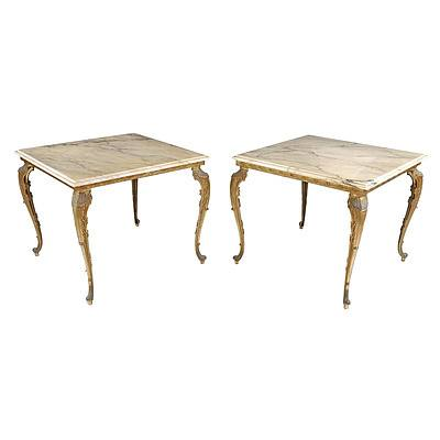 Fabulous Pair of Gilded Cast Metal and Faux Marble Top Coffee Tables in the French Style