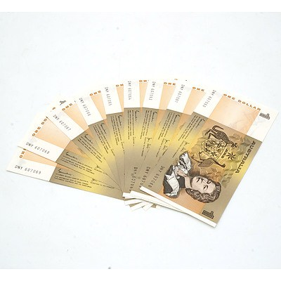 Ten Consecutively Numbered Australian Johnston/ Stone $1 Notes, DNY 607060 - DNY 607069