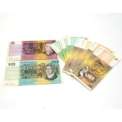 Group of Australian Paper Notes, Including Knight/ Stone $10 Notes TTB523734 and Fraser/Cole $5 Note QLG197437 and More