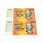 Two Australian $20 Fraser/Cole Notes, ABC944095 and RYQ879869