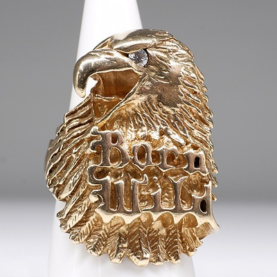 Silver Gold Plated Gents Eagle Ring with CZ