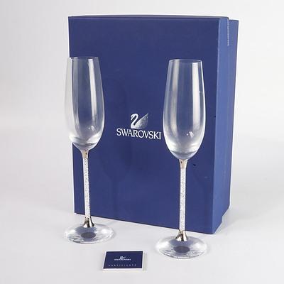Pair of Swarovski Crystal Champagne Flutes in Original Box
