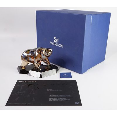 """Swarovski Crystal, Soulmates """"The Protective and Solitary Bear"""" in Original Box"""
