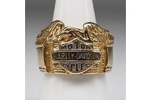 9ct Yellow Gold Harley Davidson Ring, 20.5g