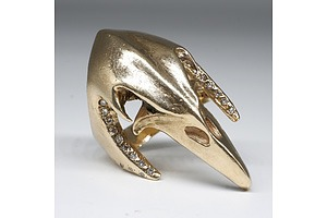 9ct Yellow Gold Eagle Skull Ring with Marquise Emerald Eyes and Round Brilliant Cut Diamonds, 35.2g