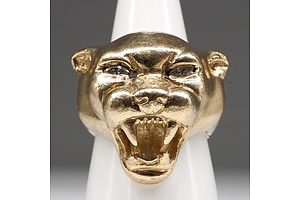 9ct Yellow Gold Panther Head Ring with Marquise Shaped Diamonds as Eyes, 43.8g