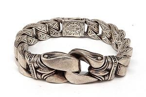 Heavy Sterling Silver Scott K Curb Link Bracelet, 187g