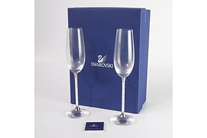 Pair of Swarovski Crystal Champagne Flutes in Original Box