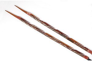 Aboriginal Artist Unknown (Arnhem Land) Two Carved Wood and Ochre Decorated Spear Tips