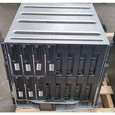 HP BladeSystem c7000 Enclosure w/ Seven HP ProLiant Blade Servers