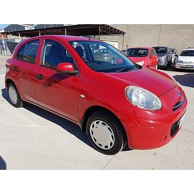 10/2011 Nissan Micra ST K13 5d Hatchback Red 1.2L