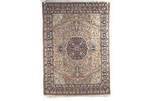 Persian Hand Knotted Wool Pile Rug with Central Medallion on a Beige Ground