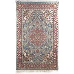 Persian Hand Knotted Wool Pile Rug with Central Medallion on a Blue Ground