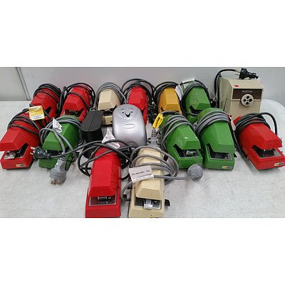 Automatic Electric Staplers and Pencil Sharpener - Lot of 16