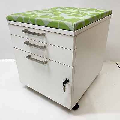 Wooden Three Draw White Filing Cabinet