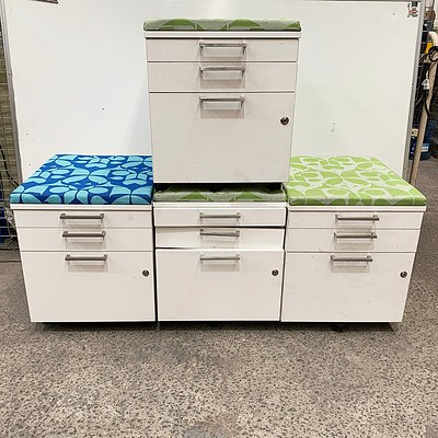 Wooden Three Draw White Filing Cabinet - Lot of 4