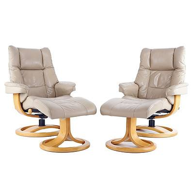 Pair of IMG 'Nordic 60' Beige Leather Reclining Armchairs with Ottomans