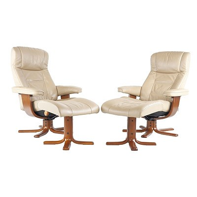 Pair of IMG Beige Leather Upholstered Armchairs with Footstools