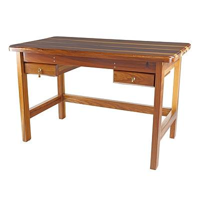 Solid African Mukwa Wood Desk, Later 20th Century
