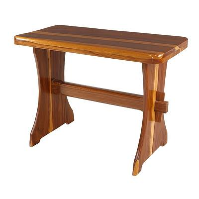 Solid African Mukwa Wood Bench with Mortice and Tenon Stretcher, Later 20th Century