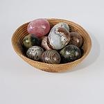 Basket of Nine Turned Semi-Precious Stone Eggs