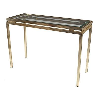 Pierre Vandel Paris Gold Aluminium and Glass Hall Table