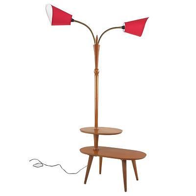 Retro Twin Gooseneck Lamp Table Circa 1960