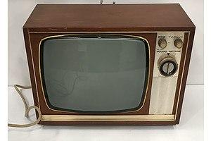PYE Teak Veneer Black and White TV