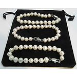 Set of 3 Fresh-Water Cultured Pearl Bracelets