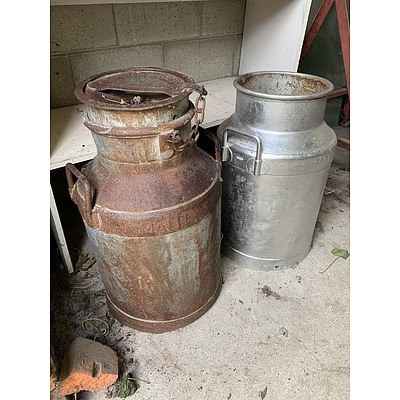 Malley's Metal Milk Cans - Lot of Two