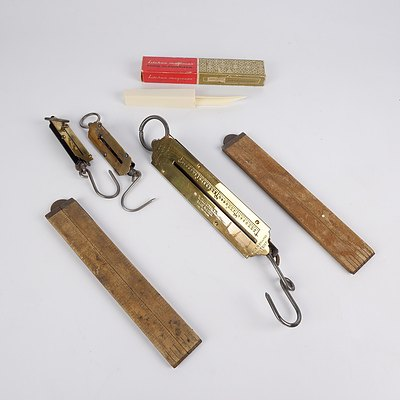 Three Vintage Balance Scales, Two Wooden Folding Rules and Food Glamorizer
