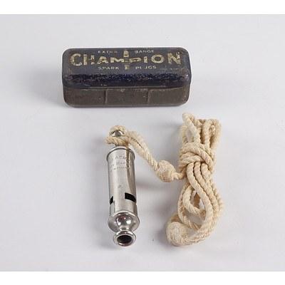 Vintage Whistle and Champion Spark Plug Tin