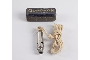 Vintage Whistle and Champion Spark Plug Tin