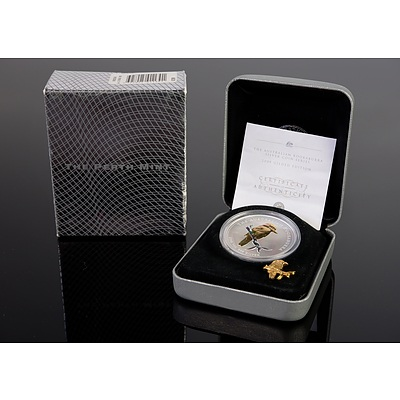 Perth Mint 2005 Australian Kookaburra 1oz Silver Coin, Gilded Edition