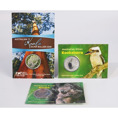 Three Perth Mint Silver Coins, Including 2008 $1 Silver Kookaburra and Two $1 2007 Silver Koalas