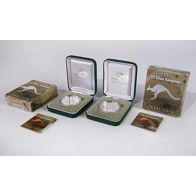 Two 2005 $1 Silver Kangaroo Proof Coins