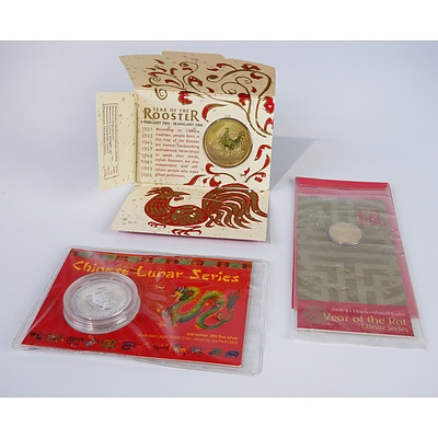 2004 Lunar Series 1 oz Silver Coin, 2005 Year of the Rooster Coin and 2008 Year of the Rat $1 Coin