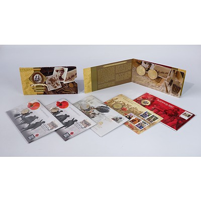 Seven Coin and Stamp Covers, including 100 Years of ANZAC, 200 Years Australia Post and More