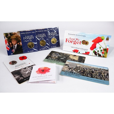 2016 50c Uncirculated Coin - Battle of Pozieres, 2009 ANZAC Day $1 Coin, Remembrance Day 2015 $2 Coin and More