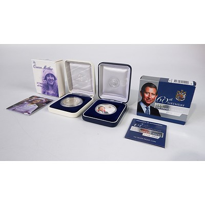 The Queen Mother 1900-2002 1oz Silver Coin and 60th Birthday HRH The Prince of Wales 1oz Silver Coin
