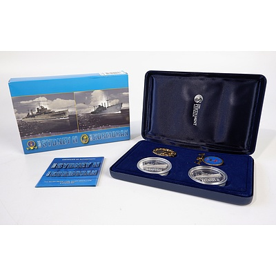 Perth Mint HMAS Sydney II and HSK-8 Kormoran 1oz Silver Proof Coin, Silver Medallion and Badge Set