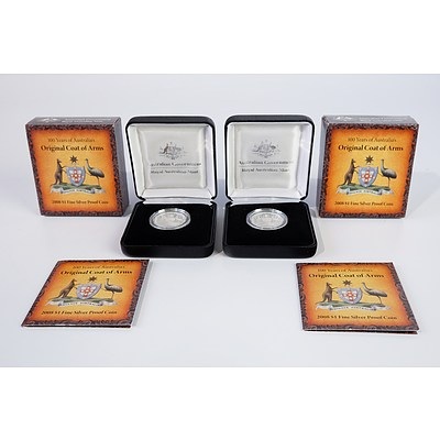 Two 2008 $1 Silver Proof Coins, 100 Years of Australia's Original Coat of Arms