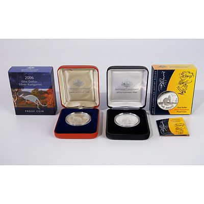 2006 $1 Silver Kangaroo Proof Coin and 2007 Australian Artist Series $1 Silver Kangaroo Proof Coin