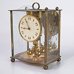 Brass German Mantle Clock with Etched Glass Panels and Torsion Pendulum