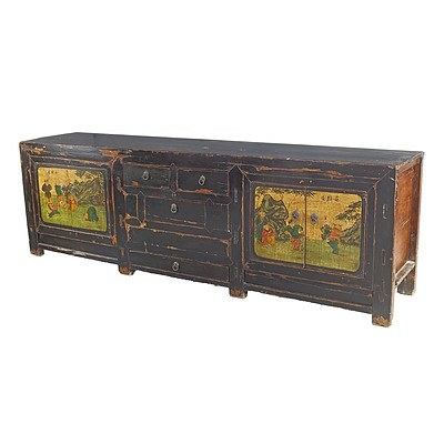 Asian Lacquer Painted Sideboard, Later 20th Century