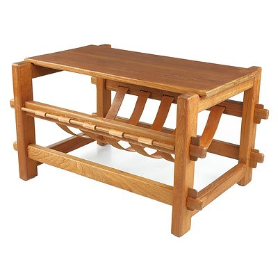 Vintage Teak Coffee Table with Magazine Sling and Mortice and Tenon Construction